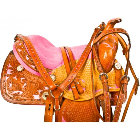 Pink Pony Youth Kids Western Barrel Saddle Tack 12 13