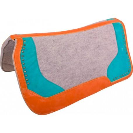Turquoise Gray Felt Contour Therapeutic Western Saddle Pad