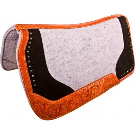 Tooled Leather Black Gray Felt Western Show Saddle Pad