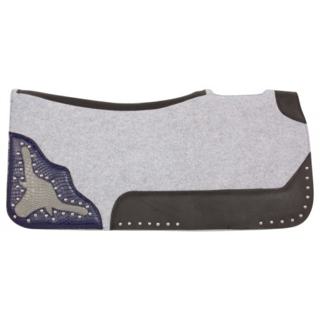 Longhorn Black Gray Felt Western Ranch Roping Saddle Pad
