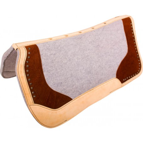 Grey Brown Felt Therapeutic Contour Western Saddle Pad