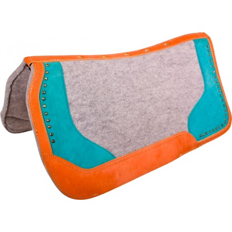 Turquoise Grey Leather Felt Barrel Western Horse Saddle Pad