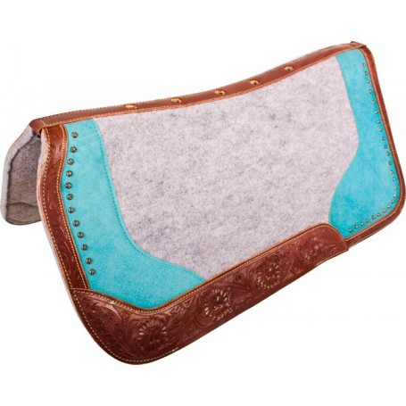 Turquoise Tooled Felt Show Barrel Western Horse Saddle Pad