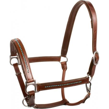 Blue Crystal Brown Leather Adjustable Padded Horse Halter