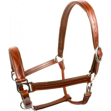 Brown Leather Triple Stitched Adjustable Padded Horse Halter