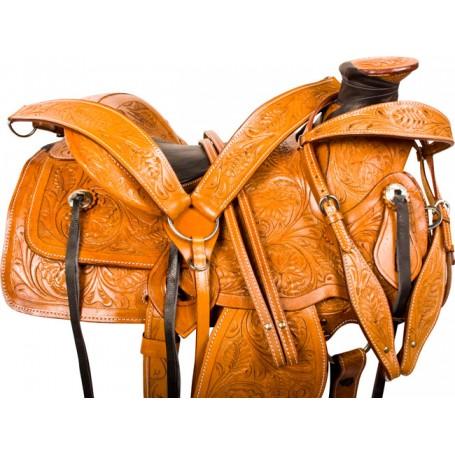 Tooled Wade Ranch Roping Western Horse Saddle Tack 15