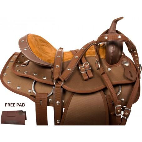 Brown Gaited Cordura Western Trail Saddle Horse Tack 15