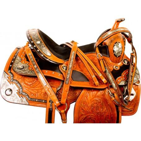 Premium Silver Leather Western Show Horse Saddle Tack 16