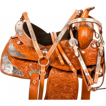 Youth Kids Silver Western Pony Show Saddle Tack 10