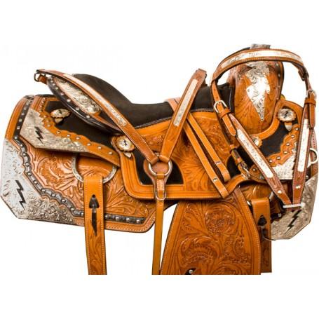 Lightning Silver Western Pleasure Horse Show Saddle Tack 16