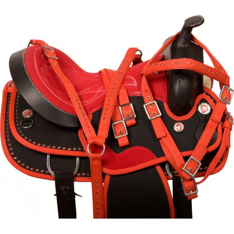 Red Black Crystal Cordura Western Horse Saddle Tack 14