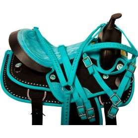 Teal Black Crystal Cordura Western Horse Saddle Tack 15
