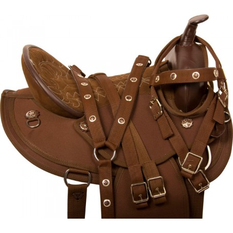 Round Skirt Brown Synthetic Western Horse Saddle Tack 15
