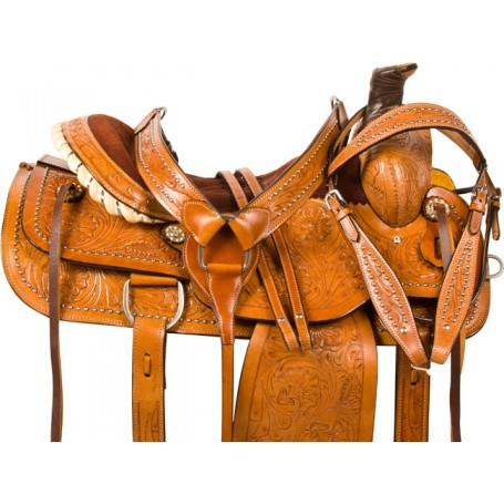 Studded Western Roper Ranch Work Horse Saddle Tack 16