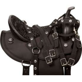 Black Round Skirt Synthetic Western Horse Saddle Tack 18