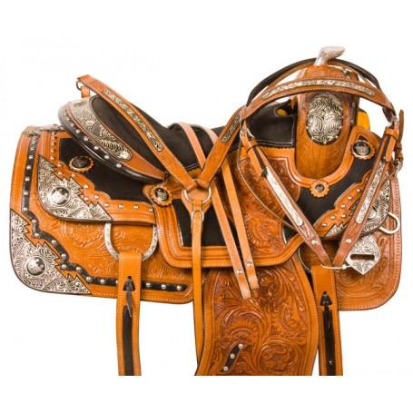 Silver Western Pleasure Show Parade Horse Saddle Tack 16