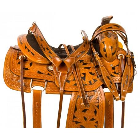 Black Inlay Ranch Work Roping Western Horse Saddle Tack 16