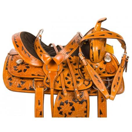 Black Inlay Barrel Racing Western Horse Saddle Tack 15