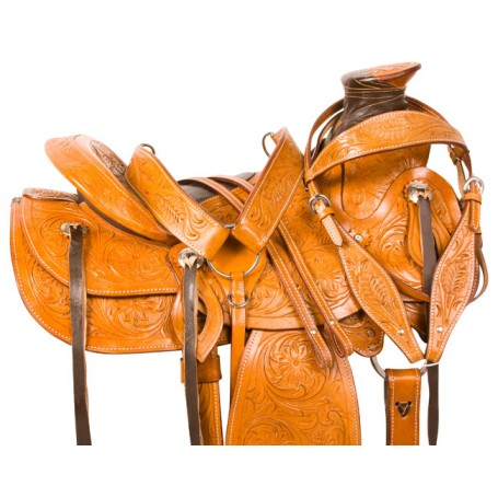 Tooled Roping Ranch Roper Western Horse Saddle Tack 15
