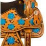 Turquoise Inlay Western Barrel Horse Saddle Tack 15 16