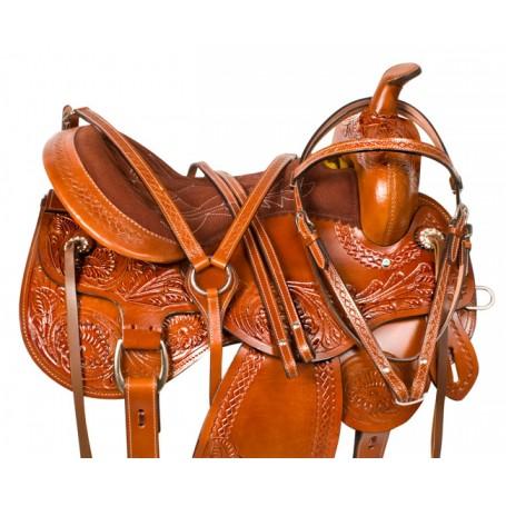 Tooled Comfortable Trail Western Horse Saddle Tack 16