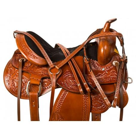 Comfortable Western Pleasure Trail Horse Saddle Tack 16 18