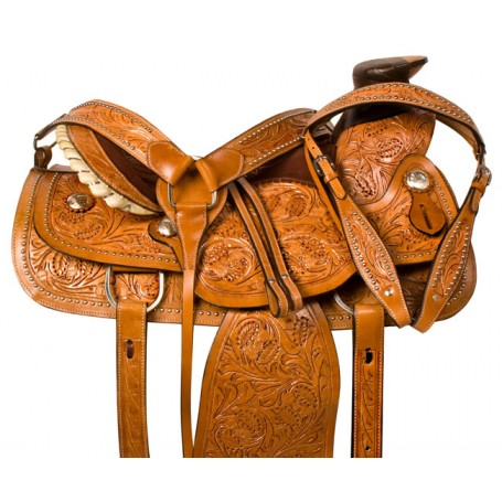 Tooled Wade Ranch Work Roping Western Horse Saddle 16