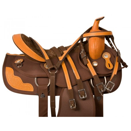 Leather Synthetic Brown Western Trail Saddle Tack 16