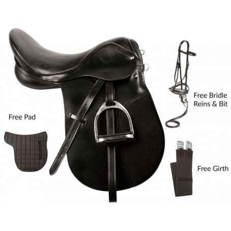 Black All Purpose English Saddle Bridle Package 16 18