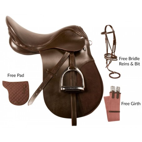 Complete Brown All Purpose English Saddle Bridle Package 18