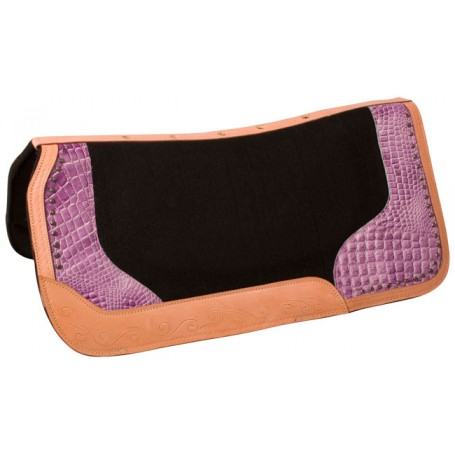Purple Gator Print Black Felt Western Show Horse Saddle Pad