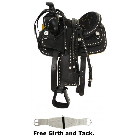 New 8 10 Black Miniature horse Western Parade Show Saddle