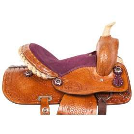 Purple Toddler Youth Kids Pony Western Saddle Tack 12