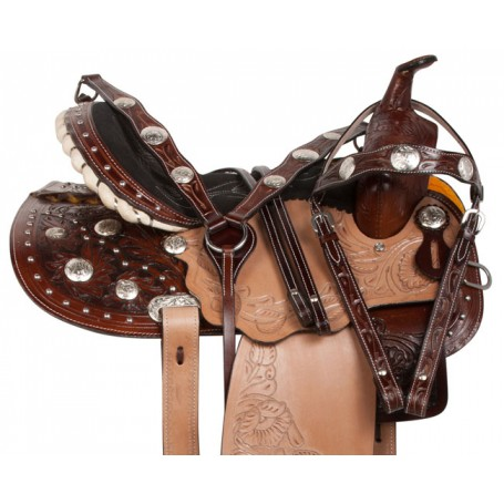 Studded Pro Barrel Racing Western Horse Saddle Tack 14 16