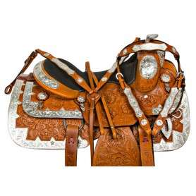 Silver Leather Western Pleasure Show Horse Saddle Tack 16