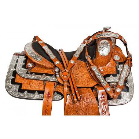Chestnut Silver Inlay Western Pleasure Show Saddle Tack 16
