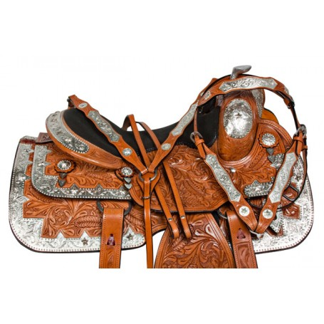 Silver Chestnut Western Pleasure Show Horse Saddle Tack 16