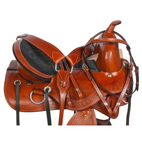 Treeless Western Pleasure Leather Horse Saddle Tack 15 18