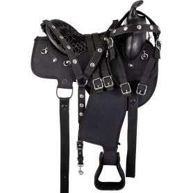Black Round Synthetic Arabian Western Saddle Tack 17