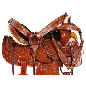 Tooled Barrel Racing Western Horse Trail Saddle Tack 14