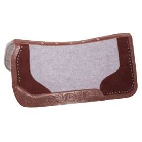 Gray Felt Brown Tooled Leather Western Horse Saddle Pad
