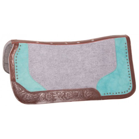 Turquoise Gray Felt Tooled Leather Western Horse Saddle Pad