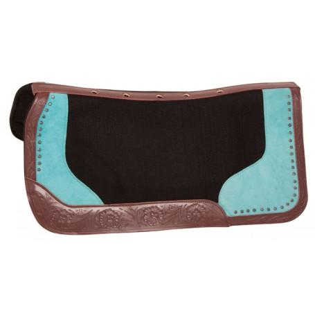 Black Felt Turquoise Show Western Barrel Horse Saddle Pad