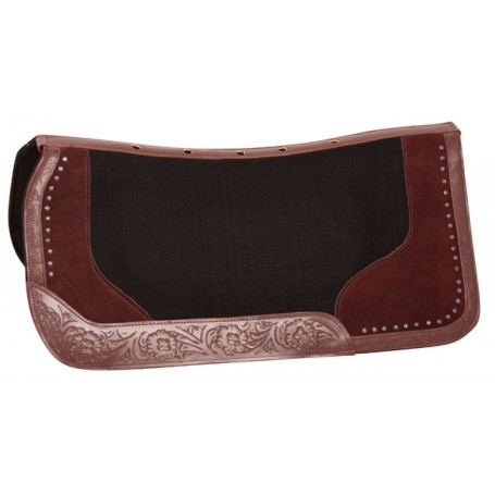 Brown Suede Black Felt Western Ranch Show Horse Saddle Pad