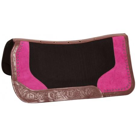Pink Black Wool Felt Western Barrel Show Horse Saddle Pad