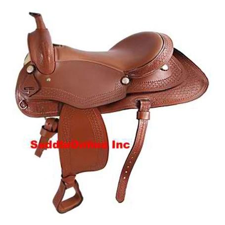NEW TAN WESTERN PLEASURE TRAIL HORSE SADDLE TAC