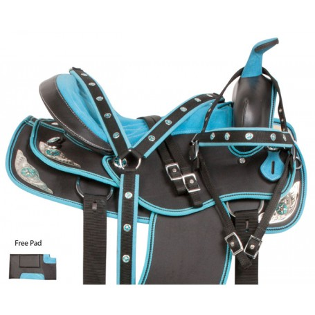 Turquoise Silver Western Synthetic Horse Saddle Tack 15 18