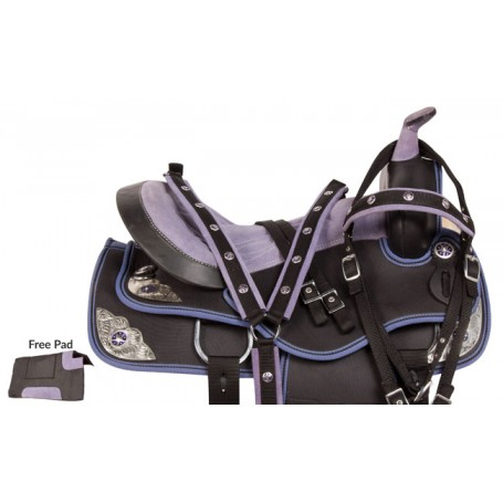 Purple Silver Synthetic Western Horse Saddle Tack 14 16