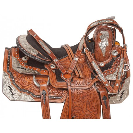 Lightning Bolt Silver Leather Show Horse Saddle Tack 16
