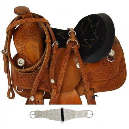 New 8 Gorgeous Hand Tooled Mini Or Small Pony Youth Saddle